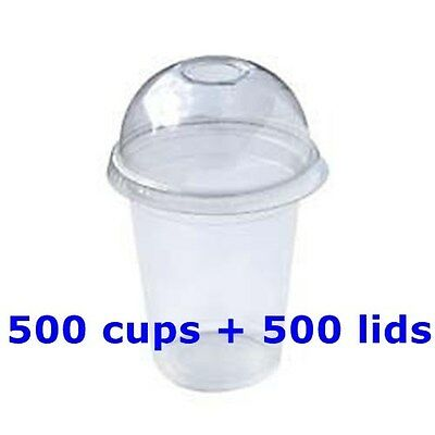 1000 PC Plastic cups Cold cups and dome lids 540ML 500cups+500lids