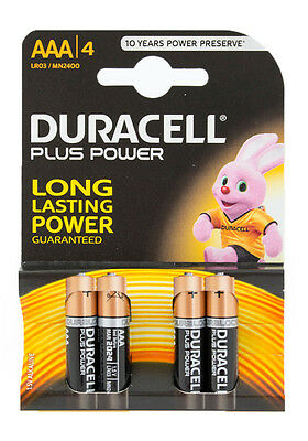 4x Duracell Plus Power AAA Alkaline Batterien, LR03, MN2400, 4903
