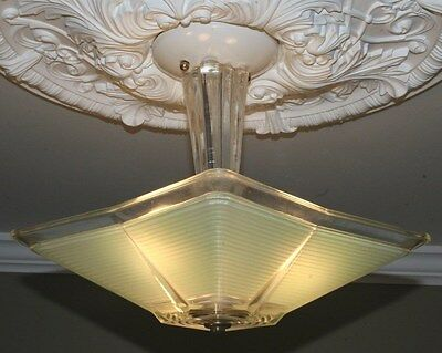 Antique square jadeite green glass art deco light fixture ceiling chandelier