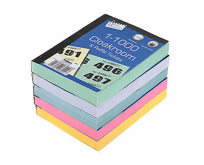 1 Book Cloakroom Raffle Tombola Draw Tickets Numbered 1 - 1000 Bingo Games