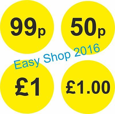 50mm One Pound £1 Stickers, Self Adhesive Yellow Labels 250,500,1000 per Roll