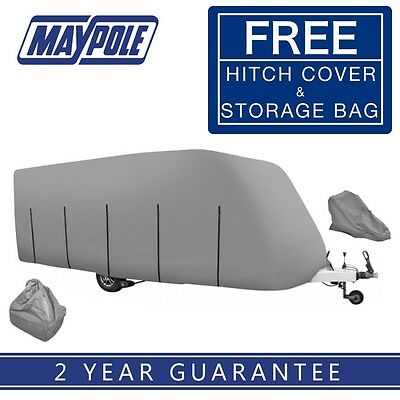 Maypole 4-Ply Caravan Cover Grey - Fits 17' to 19' With Free Hitch Cover MP9433