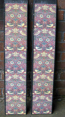 Solid Fuel Fireplace Tile Set (2 X 5 Tiles) William Morris Strawberry Thief Red