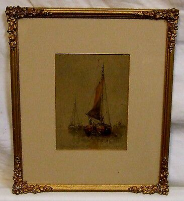 Antique print Walter William May Dutch barges Antique frame
