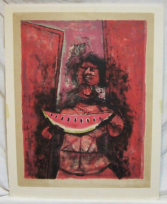 Rufino Tamayo Mujer con Sandia lithograph signed listed Mexican + freight