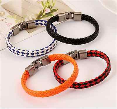 NEW Fashion men and women titanium steel charm punk leather buckle bracelet Pick