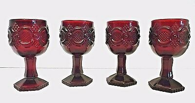 "Avon Cape Cod Ruby Red 1876 4 1/2"" Cranberry Glass Stem Goblets 4 oz Set of 4"