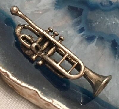VERY NICE Detailed Solid Sterling Silver Miniature TRUMPET Instrument ITALY-L268