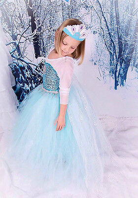 New Frozen Princess Dress Anna Elsa Queen Girls Cosplay Costume Party * Dresses