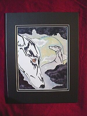 Print of Stylized watercolor Whippet Greyhound and moon  #36 Cindy A. Conter