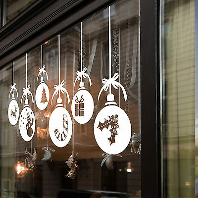 Christmas Xmas Baubles Shop Window Wall Decorations Decals Window Stickers A53