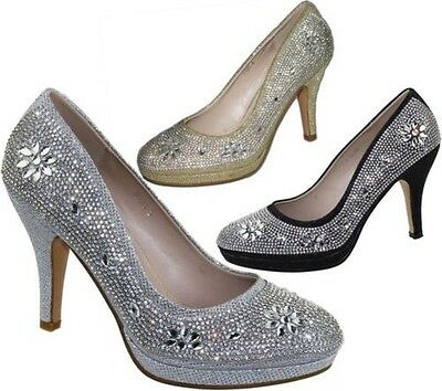 Womens Platforms High Heels Wedding Bridal Evening Diamante Ladies Party Shoes