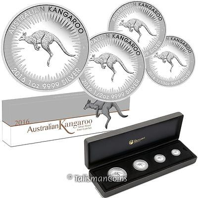 Australia 2016 Kangaroo 4 Coin Fractional Silver Proof Set in Presentation Case