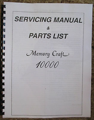Janome Memory Craft 10000 Sewing Machine Service Repair Manual + Parts List