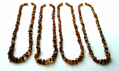Lot 4 pieces, women's necklace, raw (not polished), natural Baltic amber