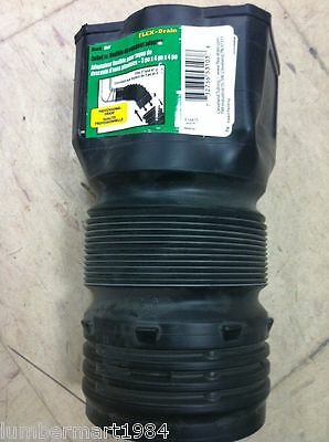 "FLEX-Drain R34410 3""x4""x4"" FLEXIBLE DOWNSPOUT ADAPTER fits 3"" & 4"" pipes Black"