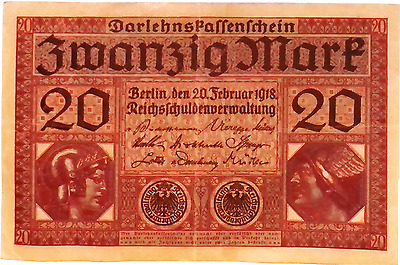 1918 Germany Weimar Republic  20  Mark Banknote