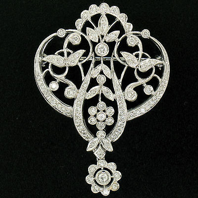 18k White Gold .82ctw 91 Round Brilliant Diamond Milgrain Open Chandelier Brooch