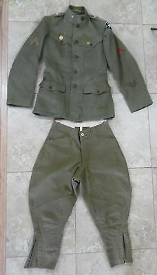 WWI Uniform Tunic Jacket, leggings, & Pants Wool with Patches Green