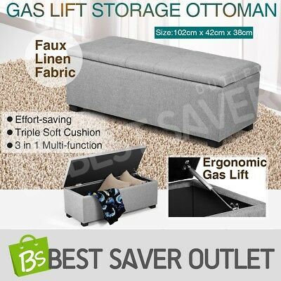 Large Storage Foot Stool Blanket Box Chest Ottoman Toy Bed PU Leather Grey