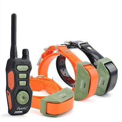 iPets Dog Training Shock Collar Waterproof Rechargeable Remote Collar for 3 Dogs