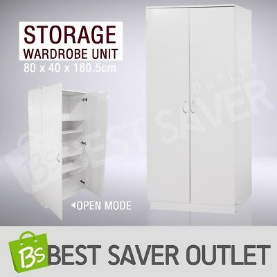 Wooden Wardrobe Cabinet Bedroom Clothe Storage Clothes Organizer 2 Doors Unit WH