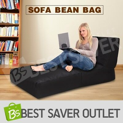 Indoor Outdoor Water Resistant Sofa Bean Bag Lounge Chair Cover Large Black