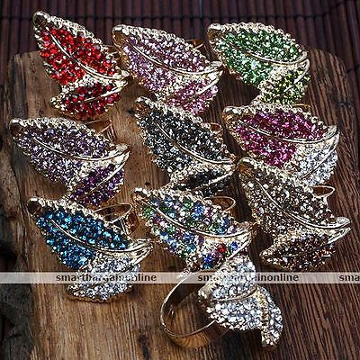 1pc Shiny Crystal Bead Leaf Band Finger Ring Adjustable Women Jewelry Fashion