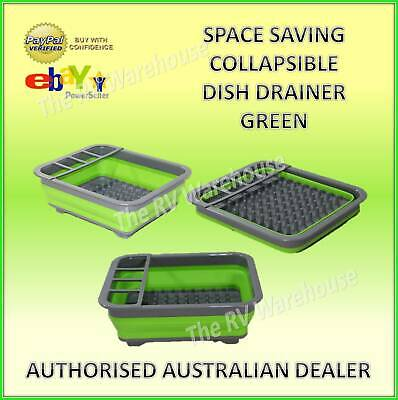 Space Saving Collapsible Green Dish Drainer New Caravan Boat RV Camping Silicone