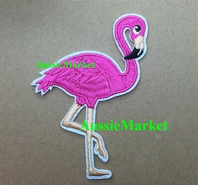 1 x flamingo patch iron on sew on embroidered cotton bird pink girls jeans dress