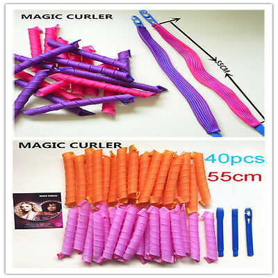 40pcs Hair Curlers Twist Spiral Circle Curlformers Useful Rollers Styling 55cm