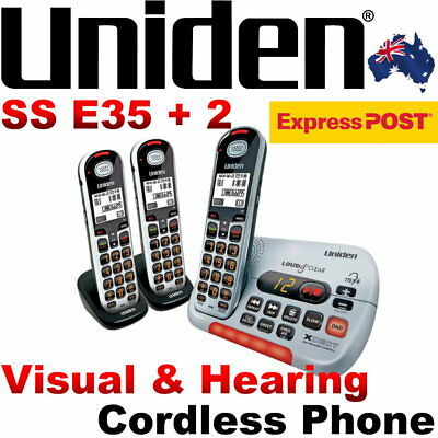 Uniden SSE35+2 Visual and Hearing Impaired Cordless Digital Phone System SS E35