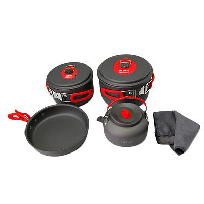 Outdoor Camping Hiking Cookware Backpacking Cooking Picnic Bowl Pot Pan Set P5