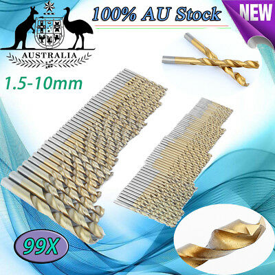 99pcs Titanium Coated HSS High Speed Steel Drill Bit Set Tool 1.5mm - 10mm NEW