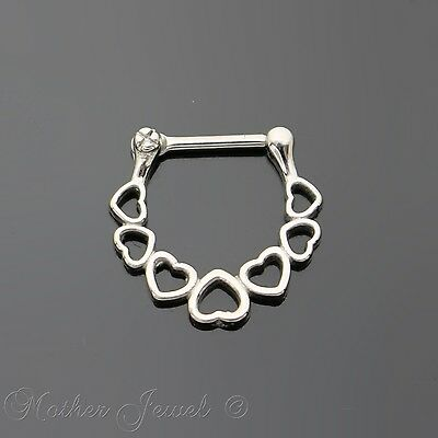 16G Silver Surgical Steel Linked Love Heart Loop Nose Clicker Septum Ring