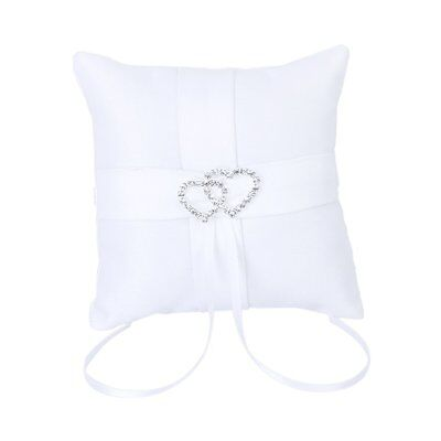 White Double Heart Wedding Party Pocket Ring Pillow Cushion 10*10cm LW