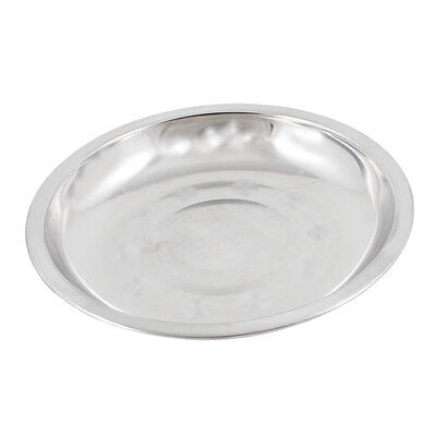 Camping 17.8cm Dia Stainless Steel Tableware Dinner Plate Food Container LW