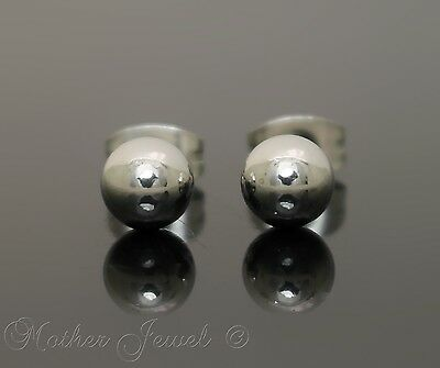 Silver Surgical Steel Round 6Mm Plain Ball Mens Womens Unisex Stud Earrings