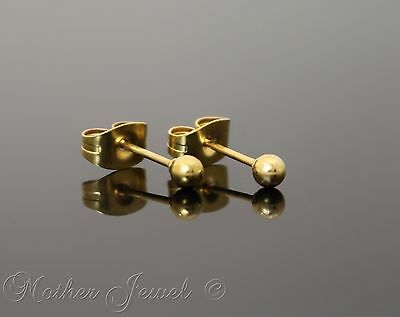 Yellow Gold Surgical Steel Round 3Mm Plain Ball Mens Womens Unisex Stud Earrings