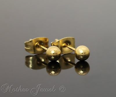 Yellow Gold Surgical Steel Round 5Mm Plain Ball Mens Womens Unisex Stud Earrings