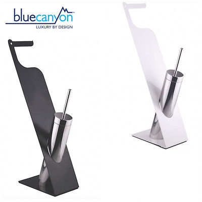 Free Standing Unique Toilet Brush & Tissue Roll Holder Set Clean Toilet Bathroom