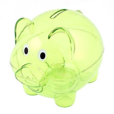 Plastic Collectible Piggy Bank Coin Savings Money Cash Box Clear Green LW