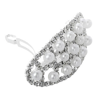 WD 63X29mm hair clip barrette pearl silver plating