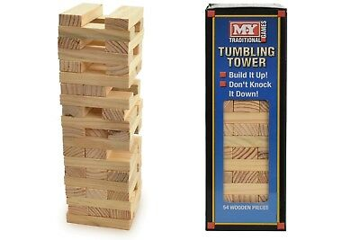 54  Pieces Wooden Tumbling Tower Traditional Stack Jenga Kids Family Party Game