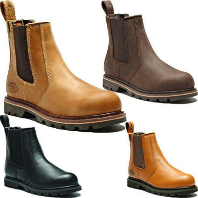 Mens Leather Dickies Safety Chelsea Dealer Work Boots Steel Toe Cap Midsole Shoe