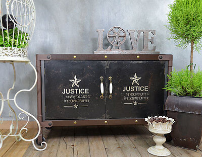 Industrial Sideboard Cabinet Cupboard Chest Vintage Black Storage Wood Metal