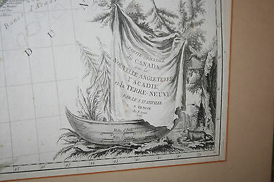 1776 Framed Lg Colored Map of Lower Canada New England New York Penn, Santini