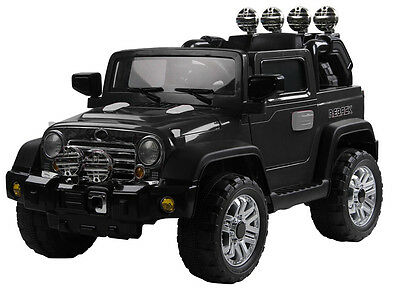 petite jeep voiture lectrique enfant noir 12v luxe. Black Bedroom Furniture Sets. Home Design Ideas