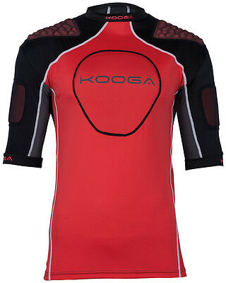 Kooga IPS Barricade Protection Rugby Top Shoulder Pads Body Armour Black/Red