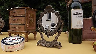 FRENCH ART NOUVEAU brass mirror jewelry gold painted rokoko Marie Antoinette